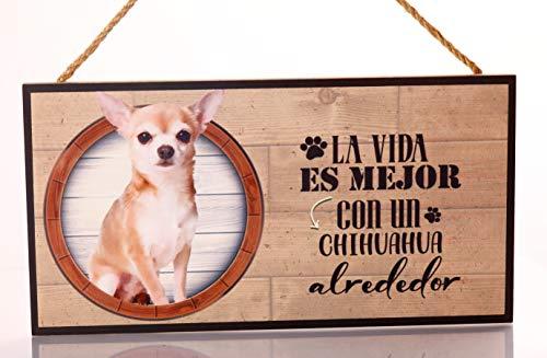 Emotiset Cartel Decorativo de Madera Chihuahua. Regalo Detalle Original para Amantes de los Animales y Mascotas. Elige la Raza de tu Perro o Gato Preferido y Decora tu casa.Texto Frase en Español.