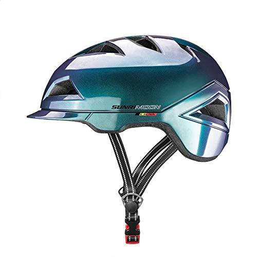 SUNRIMOON Bike Helmet Lightweight Cycling Bicycle Adult Helmet Urban Commuter Helmet with USB Recharge Light Adjustable Size for Men/Women 22.44-24.41 Inches(Aurora Blue)