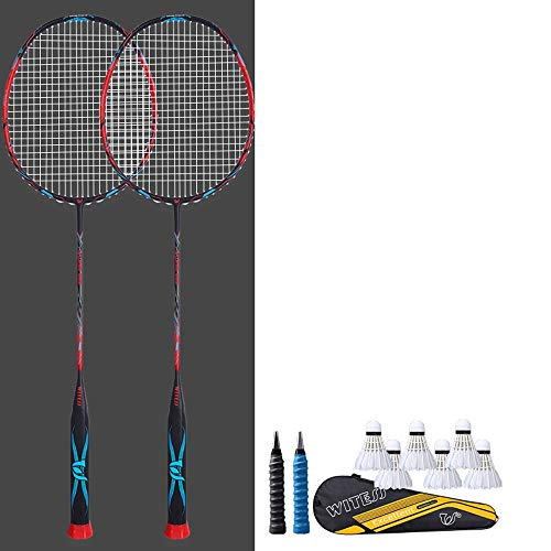 Rebily Ultra Light 5U Full Carbon Badmintonschläger Genuine Durable Doppelschläger Erwachsene Anzug Full Carbon Offensive Carbon-Faser-Ultra Light One Shot (Color : Rot)