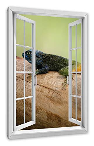 Pixxprint kleurrijke hagedissens, ramen canvasfoto | muurschildering | kunstdruk hedendaags 60x40 cm