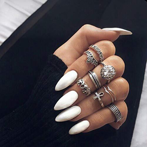 Ushiny 24 Stück künstliche Nägel Scrub Art Design Fake Nail Full Cover lange künstliche Nägel für Frauen und Mädchen (weiß)
