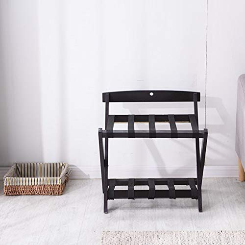 LDM Luggage Rack Hotel Luggage Rack Storage Rack Folding Wooden Luggage Rack for Bedroom (Color: Black)