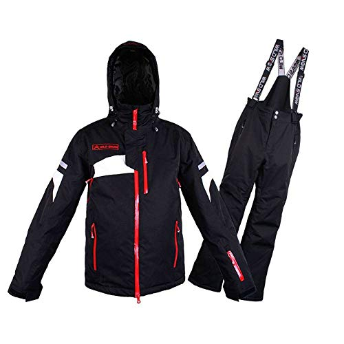 YHWW Combinaison de Ski Wild Snow Professional Suit Ski imperméable au Vent Coupe-Vent Hiver Snow Costumes Homme Hiver Ski Snowboard Veste Pantalon Ensembles Marque, Noir, XL