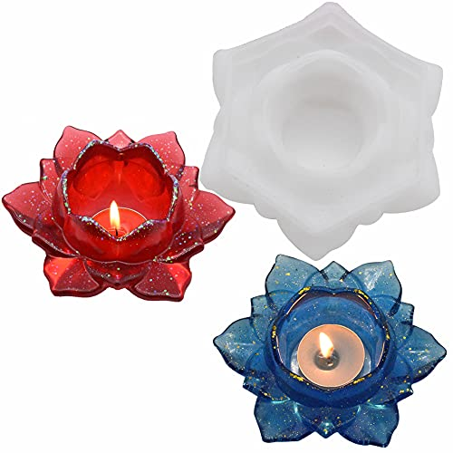 Water Lily Flower Candle Tealight Holder Resin Mold, LOYAL SEA Silicone Ashtray Candlestick Holder Mold for Epoxy DIY Jewelry Resin Casting, Home Table Romantic Decoration