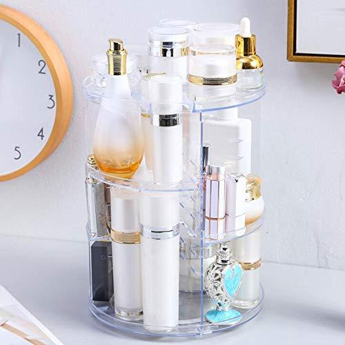 360 Rotating Makeup Organizer, DIY Adjustable Makeup Carousel Spinning Holder Storage Rack, Large Capacity Makeup Caddy Shelf Cosmetics Organizer Box, Best for Countertop (Diamond)
