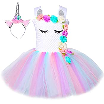 HJTT Pastel Unicorn Dress for Girls Gift Kids Birthday Party Unicorn Tutu Costume Outfit with Headband  Color 1 5-6 Years