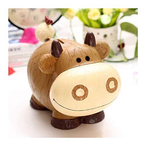 XHAEJ Hucha de ganado lindo hucha de resina para ahorrar dinero caja de resina para decoración de escritorio para niños, regalo de cumpleaños para niños (color de vaca)