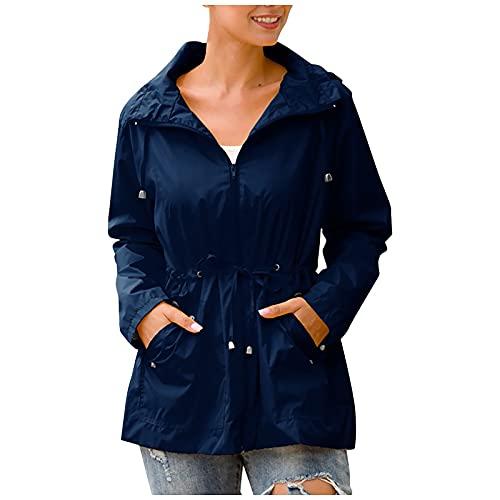 Abrigo impermeable para mujer, resistente al viento, resistente al viento, protección solar, chaquetas de lluvia con bolsillos con solapa, manga larga y talla grande, azul marino, 3XL