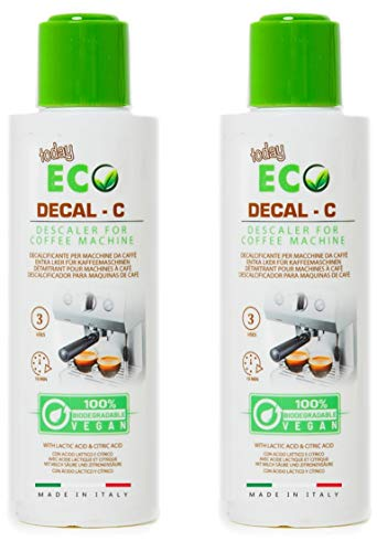 Eco Today Descalcificador para cafeteras, 2 Botellas (6 usos) Biodegradable, Natural a Base de ácido láctico. Descalcificador Compatible con Todas Las Cafeteras