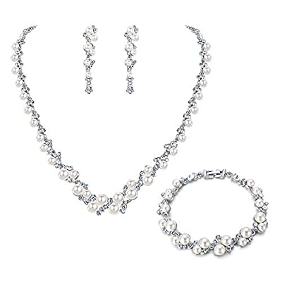EVER FAITH Simulated Pearl Crystal Bridal Necklace Earrings Bracelet Set Silver-Tone Ivory Color