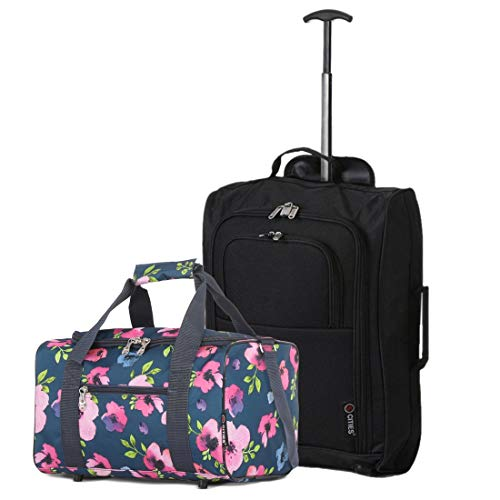Set of 2 Hand Luggage Set Including Ryanair Cabin Approved 55x40x20cm Trolley Bag & 40x20x25 Ryanair Maximum Holdall Under Seat Flight Bag (Black + Navy Floral)