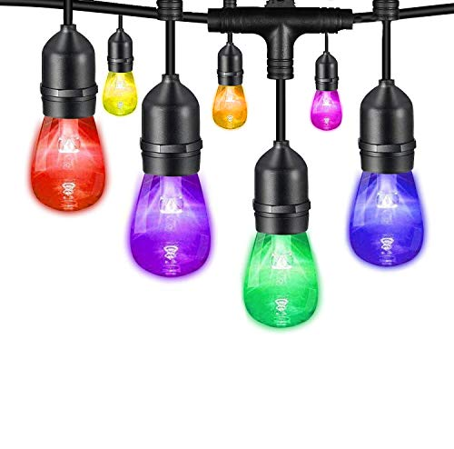 Yuusei Outdoor String Lights, 100Ft Waterproof Colored Changing Patio Lights Dimmable LED Hanging RGB String Light with 30+2 S14 Shatterproof Edison Bulbs, Remote Control, for Garden, Cafe, Balcony