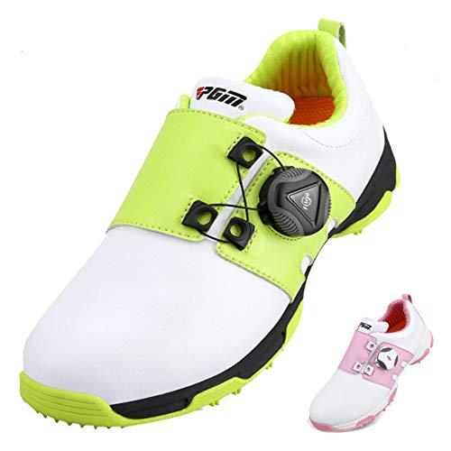 PGM-XZ099 Kinder-Golfschuhe, wasserdicht, rutschfest, Boa-Spitze, Sportschuhe, Freizeit, Grün - weiß / grün - Größe: 37 EU