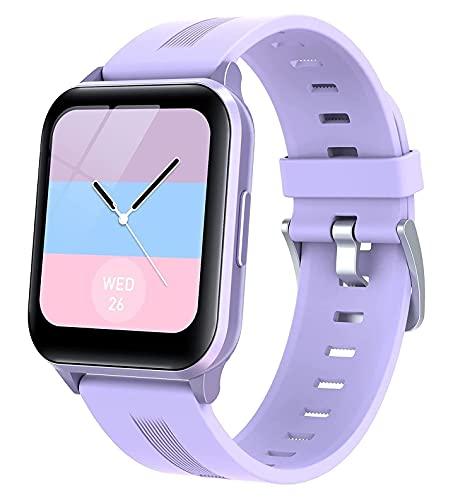 QHG Rastreador de Fitness de Pantalla táctil Grande para Android & iOS Ritmo cardíaco Presión Arterial Monitor de la Actividad Tracker Personalizado Dial Health Smart Watch (Color : Purple)