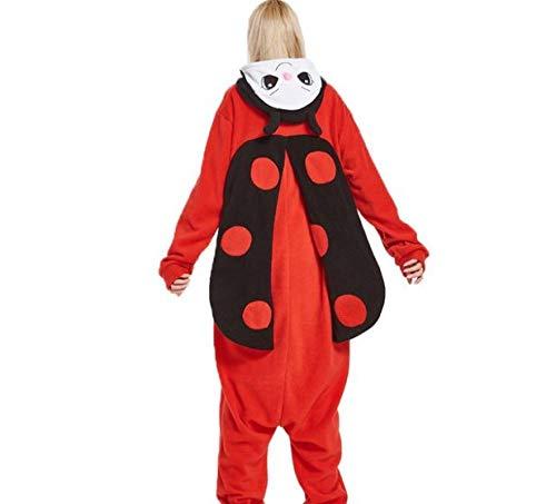 MA Pijama Mariquita roja Kigurumis Rojo Animal de Dibujos Animados Onesie Mujer niña Adulto Pareja Pijama Fiesta de Invierno Lindo Divertido Mono cálido de Franela-Rojo_L