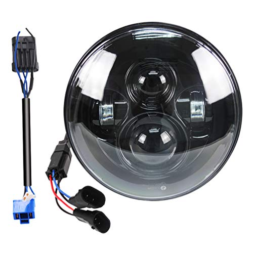 7 Inch Super White LED Headlight for HD Street Glide - Fits 2014-2020 Street Glide Special,Hi-Lo Beam Headlamp With Dual Beam Adapter,Black Housing
