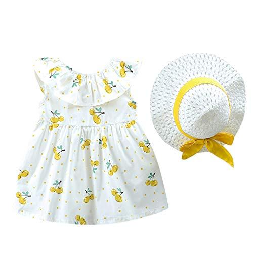 Julhold - Conjunto de ropa para bebé y niña con vestido casual y sombrero (0-3 años), diseño de frutas amarillo 12-18 Meses
