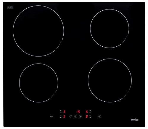 Amica KMI 13298 C Kochfeld Elektro/Induktion / 59 cm/Ankochautomatik/Timer, Kurzzeitwecker/Glaskeramik schwarz