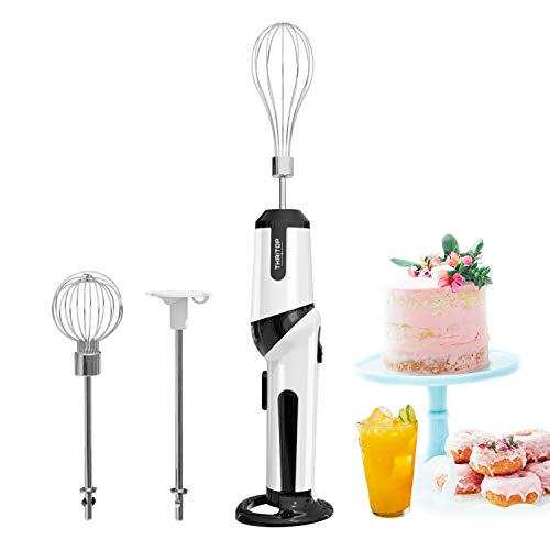 Hand Blender, THRITOP Cordless Electric Kitchen Hand Blender Kitchen Mixer Hand Stirrer,Rechargeable Battery Operated,2 speed Egg Beater,Black & White,12W Battery