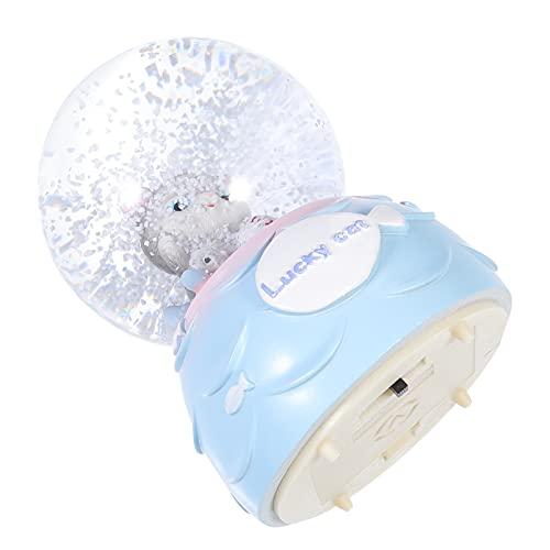Amosfun Globo de neve iluminado, bola de cristal, desenho animado, estatueta de gato da sorte, caixa de música, enfeite de mesa, decoração de casa, peça central para meninas e crianças