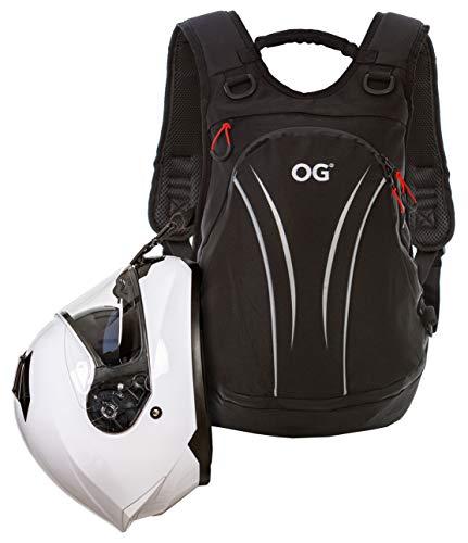 OG Online&Go Roadrunner Mochila Moto Negra Impermeable Ligera, 20L, Bolsa Porta-Casco Moto, Correa Casco, Ciclismo, Antirrobo, Portátil, Reflectante