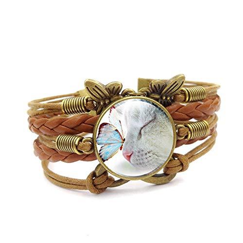 Pulsera de estilo europeo estilo retro joyería mariposa lindo gato cristal piedra piedra piedra preciosa par pulsera hecha a mano cuero tejido multicapa pulsera adecuado para hombres/mujeres