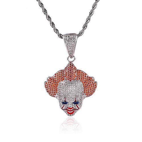 Qiulv Clown Ciondolo Collana Catena ghiacciata Bling Intarsio Cz Diamante Ciondolo Personalizzato Moda Hip Hop Placcato Oro Fascino Gioielli Regalo di Halloween,Silver