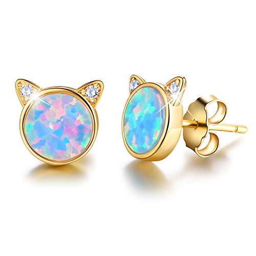 ✦Muttertagsgeschenk✦ Esberry 18 Karat Vergoldung 925 Sterling Silber Opal Cat Ohrstecker Nette Katze mit Naturstein Hypoallergene Ohrringe Geschenke für Frauen (Yellow Gold-Blue Opal)