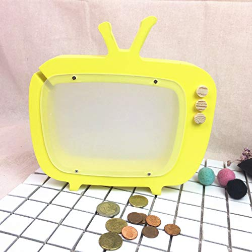 Hancoc Holz TV Styling Sparschwein Transparent Hohlen Hause Wohnzimmer Schlafzimmer Kreative Handwerk Ornamente Kinder Geschenk Fotografie Requisiten (Color : Yellow)