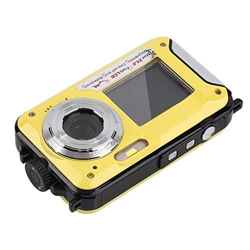 DJG Unterwasserkamera 24.0MP wasserdichte Digitalkamera Full HD 1080P Selbstauslöser Doppel-Screen-Video-Aufnahme-wasserdichte Kamera,B