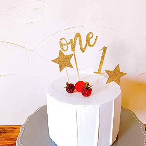 ケーキトッパー 数字 ナンバー スター 星 お祝い用 筆記体 ゴールド スクラップブッキング ケーキ デコレーション クラフト 紙製 ペーパー (1 one ☆ ☆)