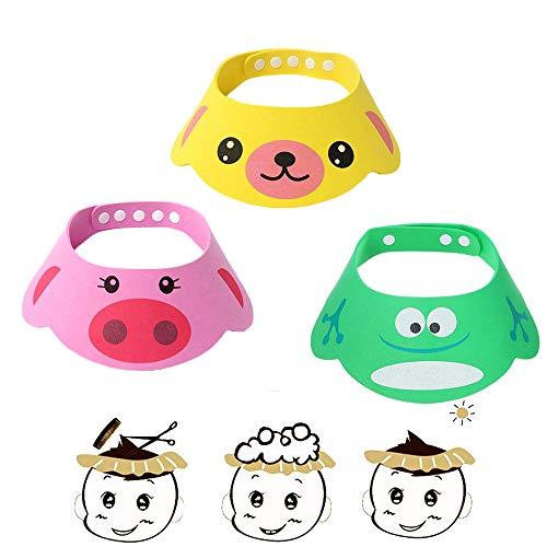 SUNTRADE Verstellbarer Visier Cartoon Shampoo, Dusche, Badekappe für Kleinkinder, Babys, Kinder, 3er-Set, zufällige Farbe