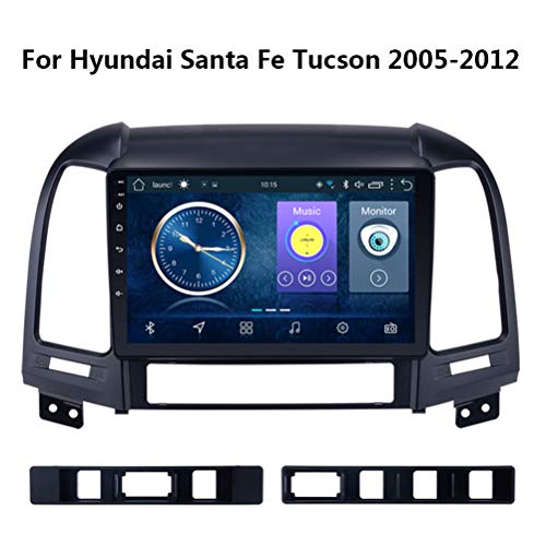 Gokiu Autostereo Android 8.1 Auto Navigation armaturenbrett System, für Hyundai Santa Fe Tucson 2005-2012, 9 Inch Unterstützt Bluetooth CD WiFi Auto USB Lenkradsteuerung,WIF1+16G