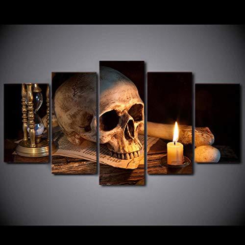 MURAEDLS Bilder Wandbild Leinwandbild Format Wandbilder Wohnzimmer Wohnung Deko Kunstdrucke 5 Teilig - Totenkopf Kerze 150x80cm(Kein Rahmen)
