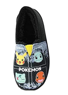 GladRags - Zapatillas de estar por casa de Sintético para niño Negro Pokemon 4 Personajes de