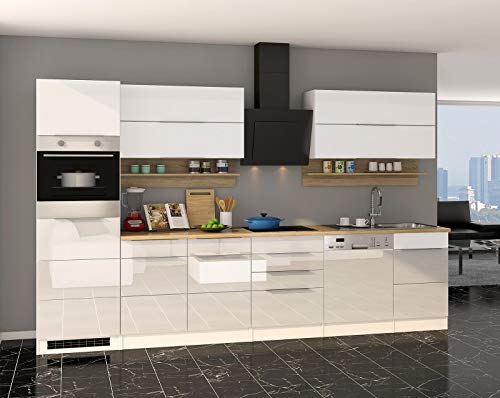 lifestyle4living - Bloque de Cocina con electrodomésticos (330 cm, Madera de Roble), Color Blanco Brillante