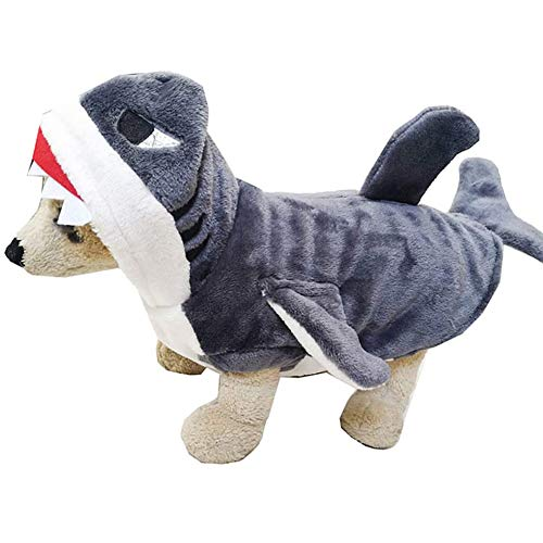 NanXi Perro tiburón Traje Traje Caliente de la Capa con Capucha Dulces para Mascotas Ropa para Perros y Gatos Disfraz de Halloween para Vacaciones,Negro,XL