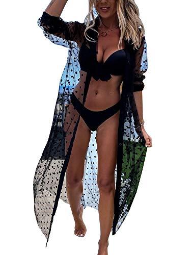 Femme Kimino Cardigan de Plage Long Transparent Sexy Paréo Robe de Plage en Maille Manches Longue à Pois Blouse Cache Maillots de Beach de Vacances Cover Up Tunique Gilet de Plage (Noir , XL )