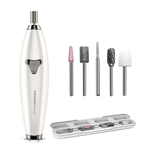 TOUCHBeauty 6in1 Electric Nail File Drill Set for Natural Nails Shaping and Nails Polishes Remover, ±360° Dual-ways Rotation Bits, Adjustable Speed Rechargeable Manicure Pedicure Travel Set 1733