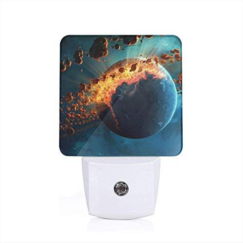 LED Nachtlicht Steckdose Der Planet, der explodiert werden soll Helligkeit Stufenlos Einstellbar für Nachttischlampe,Kinderzimmer, Treppenaufgang, Schlafzimmer