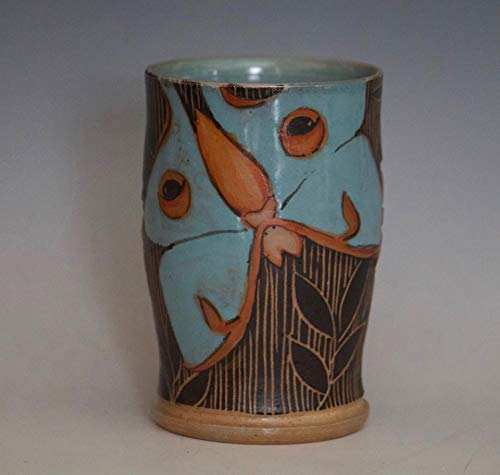 Handmade Pottery Cup, Luna Moth Tea Cup, Wine Glass, Tumbler.