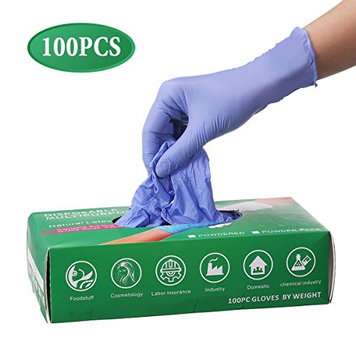 Slimerence Medical Nitrile Disposable Gloves Powder Free Textured Foodstuff Chemical Domestic Industry Blue Box of 100 Blue S