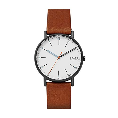 Skagen Men's Signatur Quartz Analog Stainless Steel and Leather Watch, Color: Brown / Silver (Model: SKW6374)