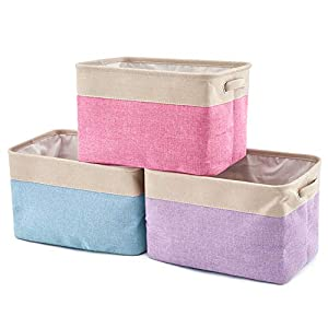 EZOWare Set of 3 Large Canvas Fabric Tweed Storage Organizer Cube Set W/Handles for Nursery Kids Toddlers Home and Office – 15 L x 10.5 W x 9.4 H