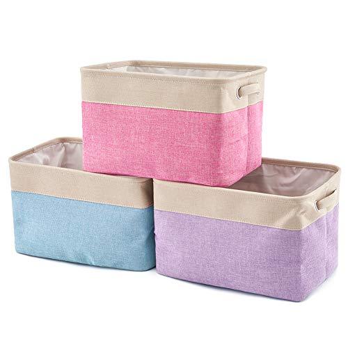 EZOWare Opvouwbare Opbergbak Mand (Pak van 3), Rechthoekig Opvouwbaar Canvas Stof Tweed Opbergdoos Container Organiser Cube w/Handgrepen voor Kleren, Wasserij, Kinderen Speelgoed, Boeken en meer