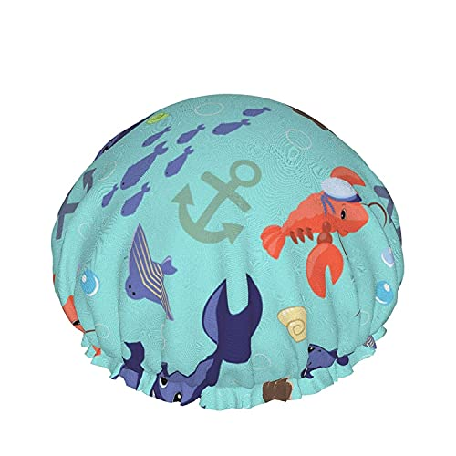 Double Layers Shower Cap,Pattern Frog In Doodle Style Little Princess,Reusable Waterproof Elastic Bath Caps for All Hair Lengths-style09-1pcs