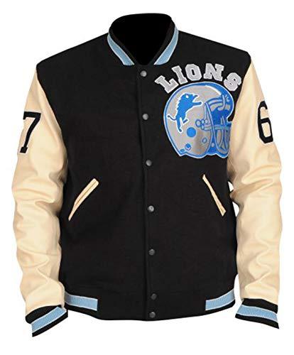 Fashion_First Eddie Murphy Detroit Lions Beverly Hills Cop Axel Foley Letterman Varsity Lederjacke Gr. XL, mehrfarbig