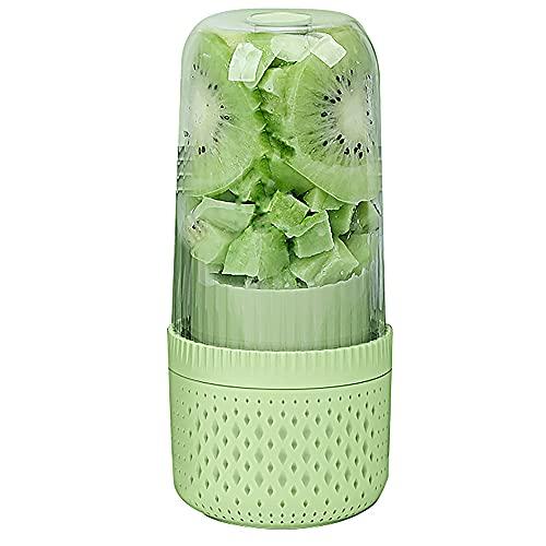 ZHJH Copa De Exprimidor Eléctrico USB, Licuadora De Jugos, Diseño Mini Portátil, Botella De Agua De 350 Ml Recargable, Adecuado para Viajes De Oficina Y Uso De Excursiones,Verde