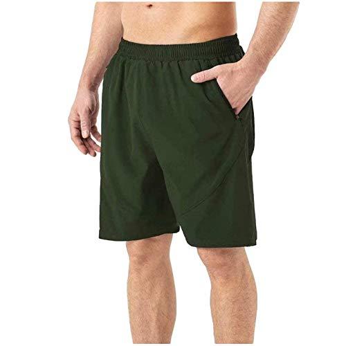 Pantalones cortos deportivos para hombre, de secado rápido, para correr, gimnasio, casual, corto, ligero, con cremallera, para vacaciones de verano