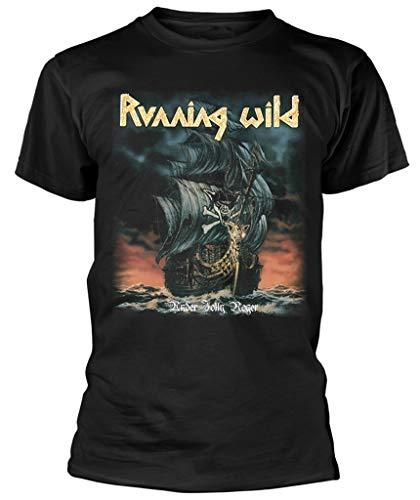 Running Wild  Under Jolly Roger Album  (Black) T-Shirt (Large)